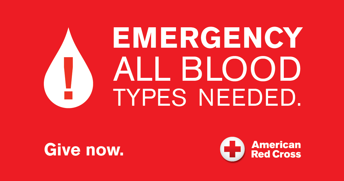 """Poster reading """"Emergency All Blood Types Needed"""""""